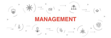 management Infographic 10 steps circle design.manager, control, organization, presentation simple icons 向量圖像