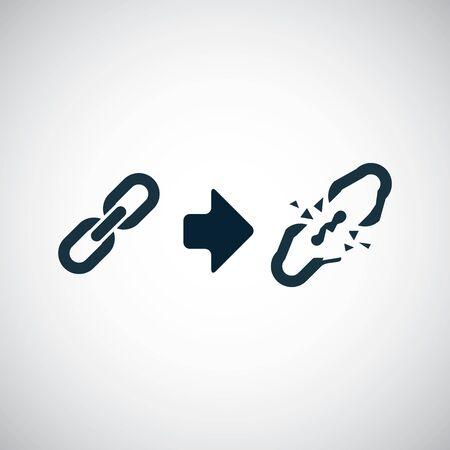 enlace roto icono plantilla de concepto de símbolo simple de moda