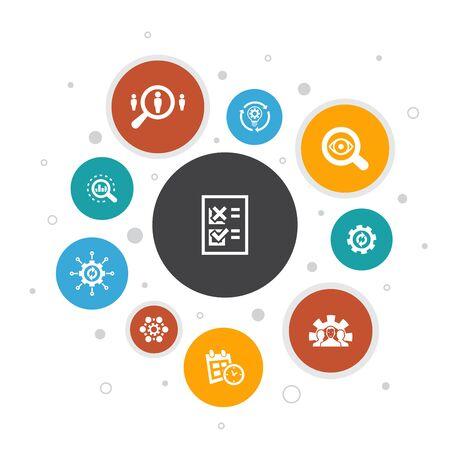Infografía de procesos de negocio, diseño de burbujas de 10 pasos, implementación, análisis, desarrollo, procesamiento de iconos Ilustración de vector