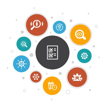 Processus d'affaires Infographie 10 étapes bulle design.implement, analyse, développement, icônes de traitement Vecteurs