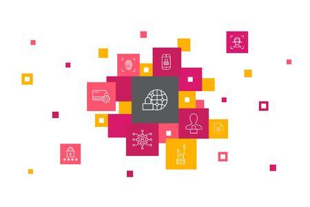 Internet Security Infographic 10 steps pixel design. cyber security, fingerprint scanner, data encryption, password simple icons 版權商用圖片 - 134039309
