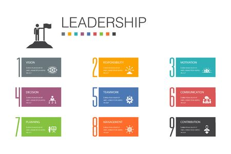 Leadership Infographic 10 option line concept.responsibility, motivation, communication, teamwork simple icons 向量圖像
