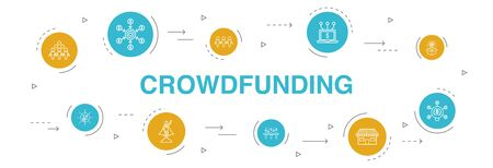 Crowdfunding Infographic 10 steps circle design.startup, product launch, funding platform, community simple icons