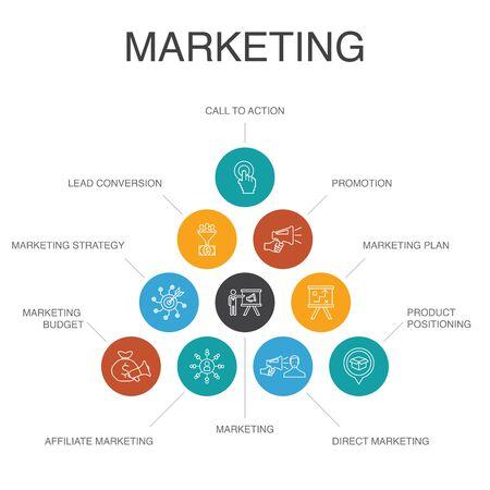 marketing Infographic 10 steps concept. call to action, promotion, marketing plan, marketing strategy simple icons Banco de Imagens - 134039357