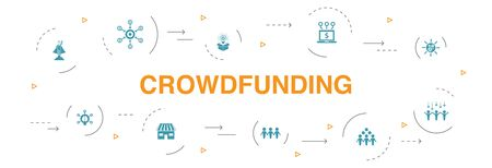 Crowdfunding Infographic 10 steps circle design. startup, product launch, funding platform, community icons 向量圖像
