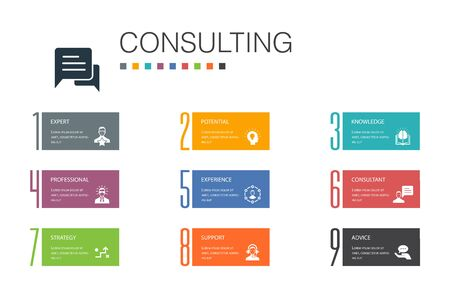 Consulting Infographic 10 option line concept.Expert, knowledge, experience, consultantsimple icons 向量圖像