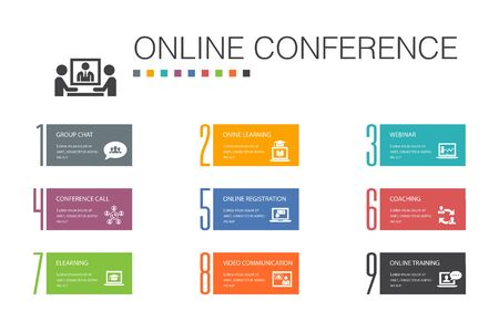 online conference Infographic 10 option line concept.group chat, online learning, webinar, conference call simple icons