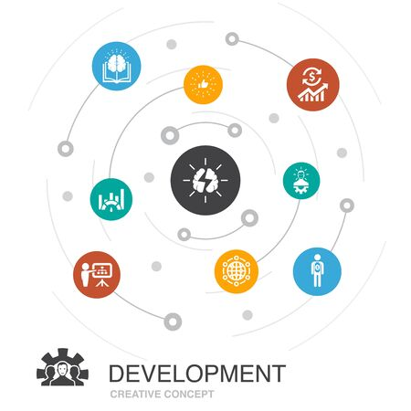 Development colored circle concept with simple icons. Contains such elements as global solution, knowledge, investor