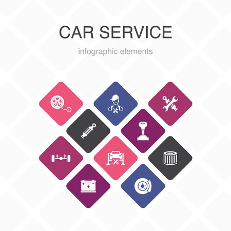 Car service Infographic 10 option color design.disk brake, suspension, spare parts, Transmission simple icons 向量圖像