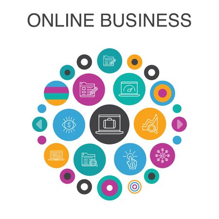 Online Business Infographic circle concept. Smart UI elements pay per view, Bandwidth, landing page, SEO simple icons Illustration
