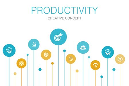 Productivity Infographic 10 steps circle design. performance, goal, system, process icons 向量圖像