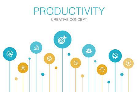 Productivity Infographic 10 steps circle design. performance, goal, system, process icons 版權商用圖片 - 134039476
