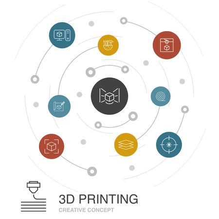 3d printing colored circle concept with simple icons. Contains such elements as 3d printer, filament, prototyping, model preparation