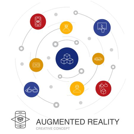 Augmented reality colored circle concept with simple icons. Contains such elements as Facial Recognition, AR app, AR game, Virtual Reality Ilustração