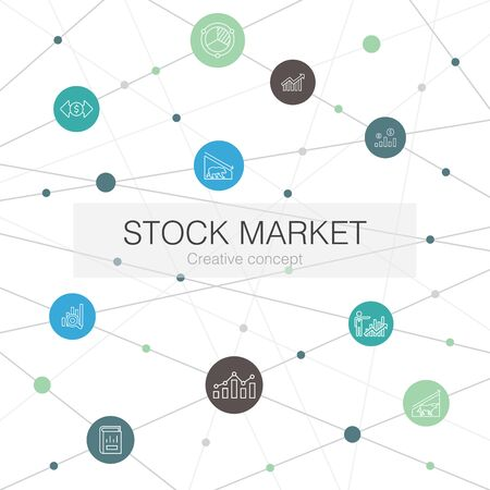 Stock market trendy web template with simple icons. Contains such elements as Broker, finance, graph, market share
