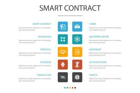 Smart Contract Infographic 10 option concept.blockchain, transaction, decentralization, fintech icons