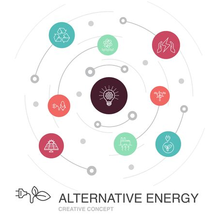 Alternative energy colored circle concept with simple icons. Contains such elements as Solar Power, Wind Power, Geothermal Energy, Recycling