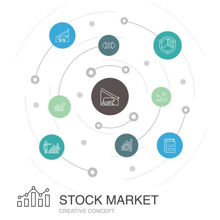 Stock market colored circle concept with simple icons. Contains such elements as Broker, finance, graph, market share