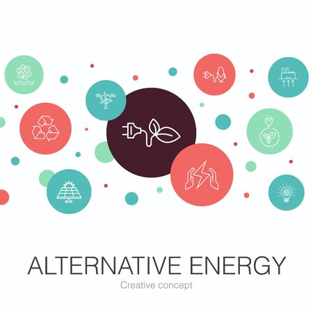 Alternative energy trendy circle template with simple icons. Contains such elements as Solar Power, Wind Power, Geothermal Energy, Recycling
