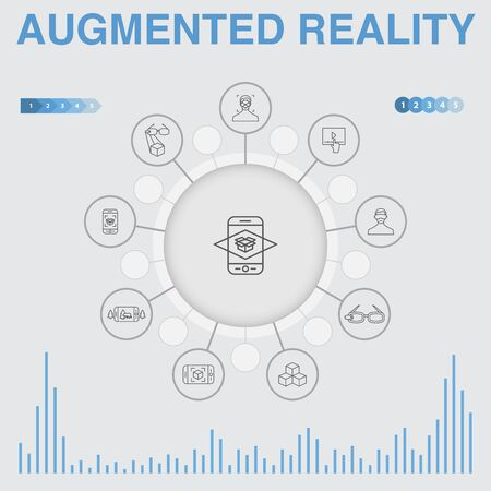 Augmented reality infographic with icons. Contains such icons as Facial Recognition, AR app, AR game, Virtual Reality