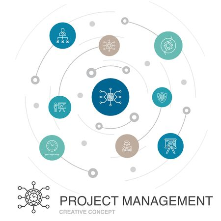 Project management colored circle concept with simple icons. Contains such elements as Project presentation, Meeting, workflow, Risk management