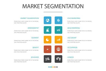 market segmentation Infographic cloud design template.demography, segment, Benchmarking, Age group icons