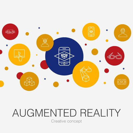 Augmented reality trendy circle template with simple icons. Contains such elements as Facial Recognition, AR app, AR game, Virtual Reality Illustration
