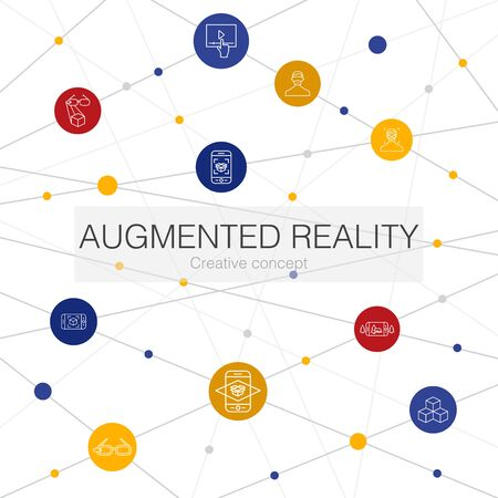 Augmented reality trendy web template with simple icons. Contains such elements as Facial Recognition, AR app, AR game, Virtual Reality