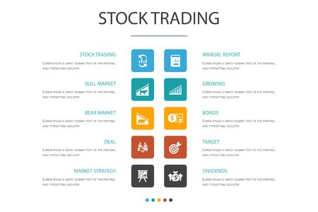 stock trading Infographic 10 option concept.bull market, bear market, annual report, target icons