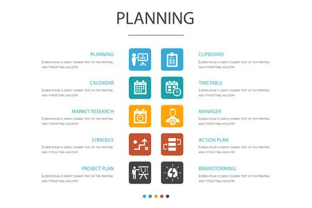planning Infographic 10 option concept.calendar, schedule, timetable, Action Plan simple icons