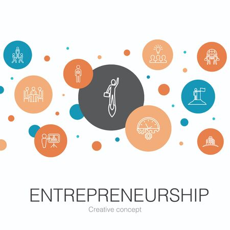 Entrepreneurship trendy circle template with simple icons. Contains such elements as Investor, Partnership, Leadership, Team building