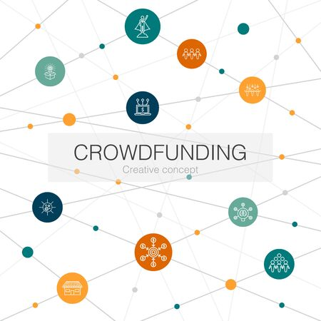 Crowdfunding trendy web template with simple icons. Contains such elements as startup, product launch, funding platform, community