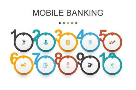 Mobile banking Infographic design template.account, banking app, money transfer, Mobile payment icons Çizim