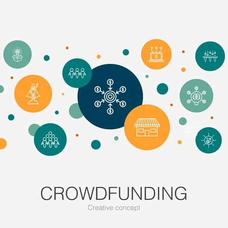 Crowdfunding trendy circle template with simple icons. Contains such elements as startup, product launch, funding platform, community Ilustração