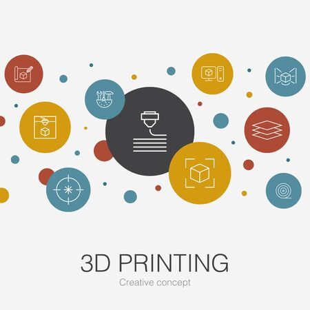 3d printing trendy circle template with simple icons. Contains such elements as 3d printer, filament, prototyping, model preparation Ilustração