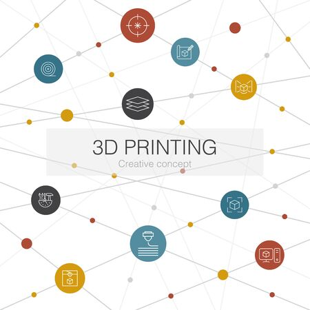 3d printing trendy web template with simple icons. Contains such elements as 3d printer, filament, prototyping, model preparation