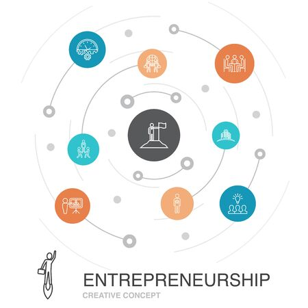 Entrepreneurship colored circle concept with simple icons. Contains such elements as Investor, Partnership, Leadership, Team building Illustration