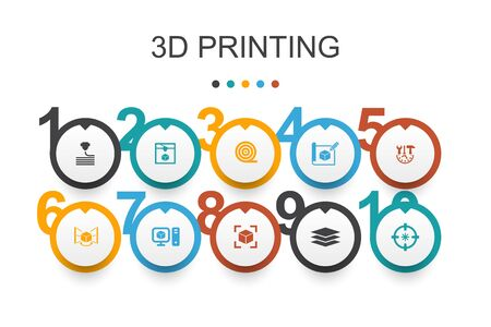 3d printing Infographic design template.3d printer, filament, prototyping, model preparation icons