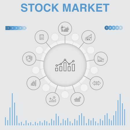 Stock market infographic with icons. Contains such icons as Broker, finance, graph, market share