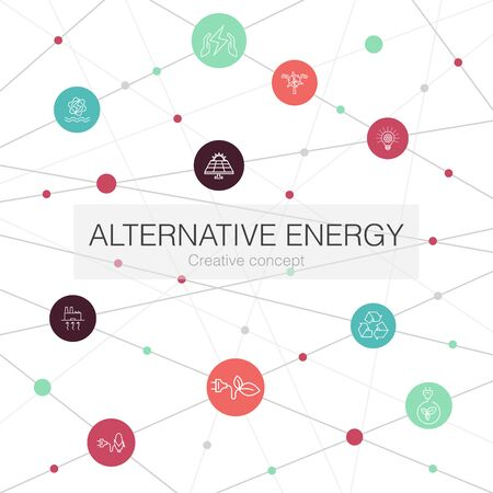 Alternative energy trendy web template with simple icons. Contains such elements as Solar Power, Wind Power, Geothermal Energy, Recycling