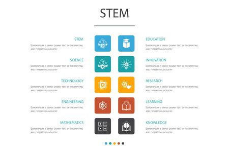 STEM Infographic 10 option concept.science, technology, engineering, mathematics icons Illustration