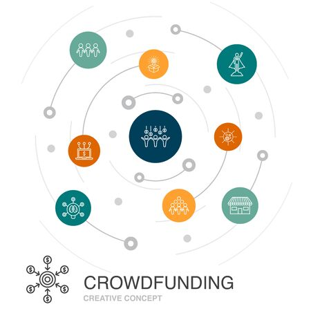 Crowdfunding colored circle concept with simple icons. Contains such elements as startup, product launch, funding platform, community