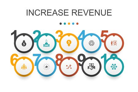 increase revenue Infographic design template.Raise prices, reduce expenses, best practices, strategy icons