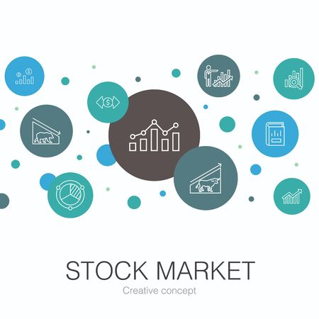 Stock market trendy circle template with simple icons. Contains such elements as Broker, finance, graph, market share