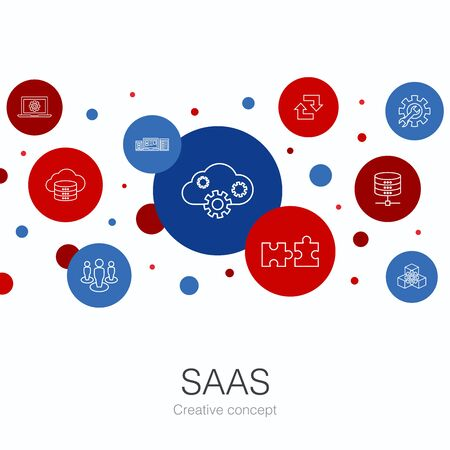 SaaS trendy circle template with simple icons. Contains such elements as cloud storage, configuration, software, database