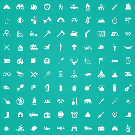 camping 100 icons universal set for web and UI.