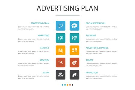 Advertising Plan Infographic 10 option concept.marketing, strategy, planning, target icons