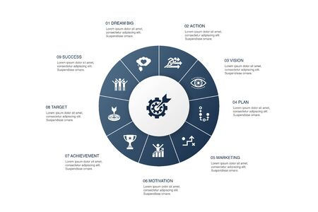 goal setting Infographic 10 steps circle design.dream big, action, vision, strategy icons Illustration