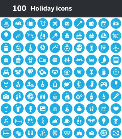 holiday 100 icons universal set for web and UI.