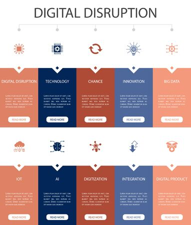 digital disruption Infographic 10 option UI design.technology, innovation, IOT, digitization icons simple icons Vettoriali
